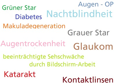 Augenerkrankungen wie Glaukom, Grüner Star, grauer Star, Katarakt, Makuladegeneration, Nachtblindheit, Augentrockenheit Hamburg